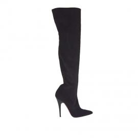 Stivale da donna in tessuto scamosciato elasticizzato nero con tacco 10 in vernice - Misure disponibili: 34