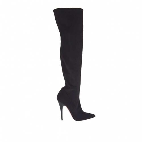 Bottes pour femmes en tissu daim élastique noir avec talon 10 en vernis - Pointures disponibles:  34