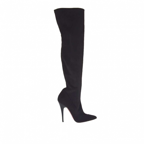 Woman's boot in black elastic suede fabric and vanished heel 10 - Available sizes:  34