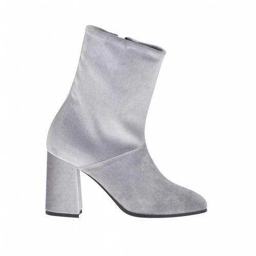 Bottines pour femmes avec fermeture éclair en velours gris clair talon 8 - Pointures disponibles:  34, 42