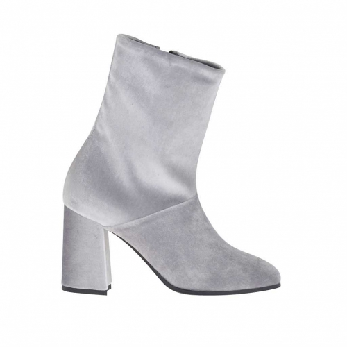 Woman's ankle boot with zipper in light grey velvet heel 8 - Available sizes:  34, 42