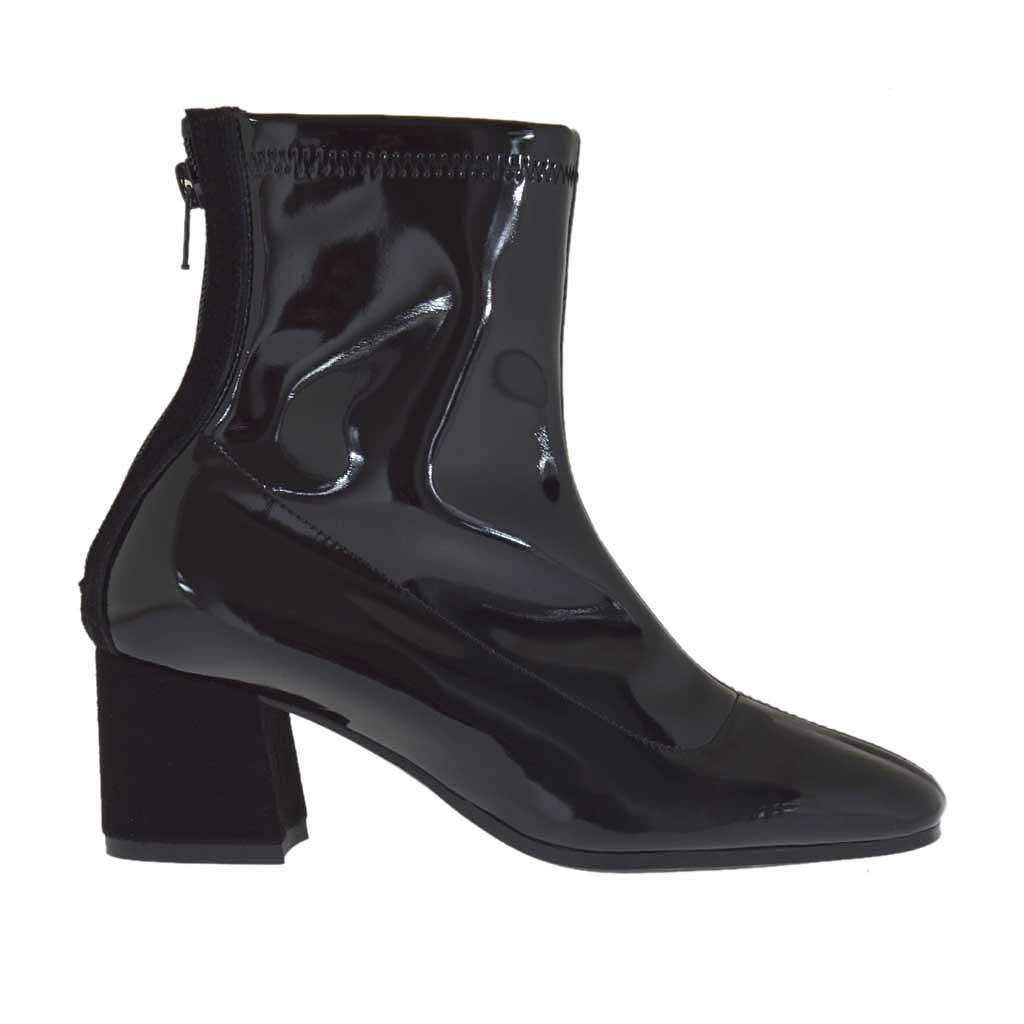 bottines pour femmes avec fermeture éclair derrière en daim noir
