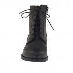 Bottines richelieu pour femmes avec fermeture éclair et lacets en cuir noir talon 3 - Pointures disponibles:  46