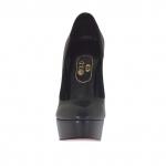 Escarpin pour femmes avec plateforme en cuir noir talon opaque 15 - Pointures disponibles:  42