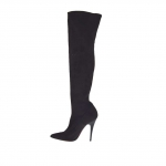 Woman's boot in black elastic suede fabric and vanished heel 10