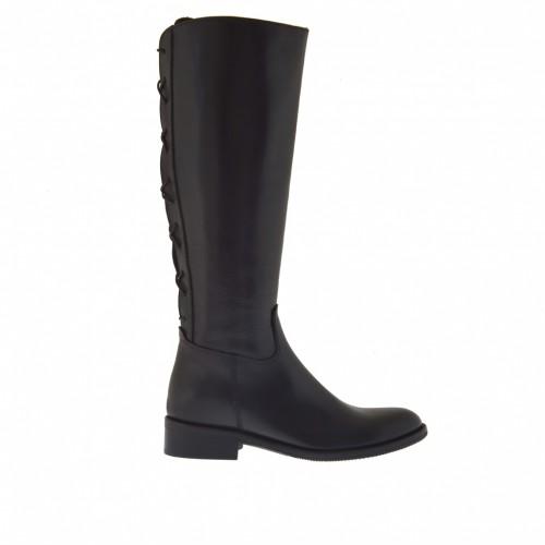 Bottes pour femmes avec fermeture éclair et lacets derrière en cuir noir talon 3 - Pointures disponibles:  32