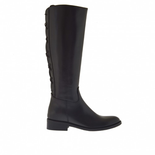 Woman's boot with zipper and back strap in black leather heel 3 - Available sizes:  32