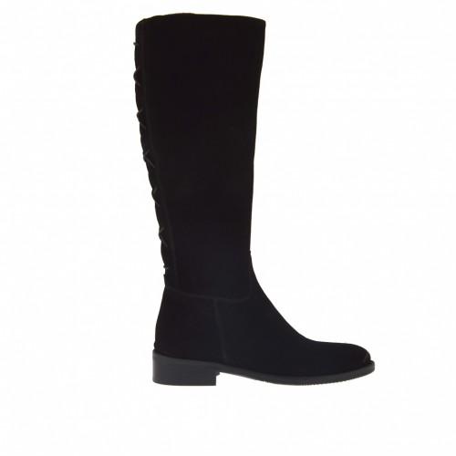 Bottes pour femmes avec fermeture éclair et lacets derrière en daim noir talon 3 - Pointures disponibles:  32