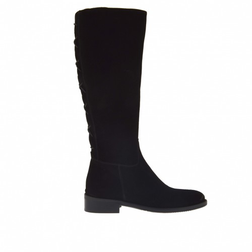 Woman's boot with zipper and back strap in black suede heel 3 - Available sizes:  32, 33
