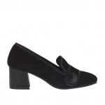Chaussure fermée pour femmes avec bouton en cuir et daim noir talon 5 - Pointures disponibles:  44