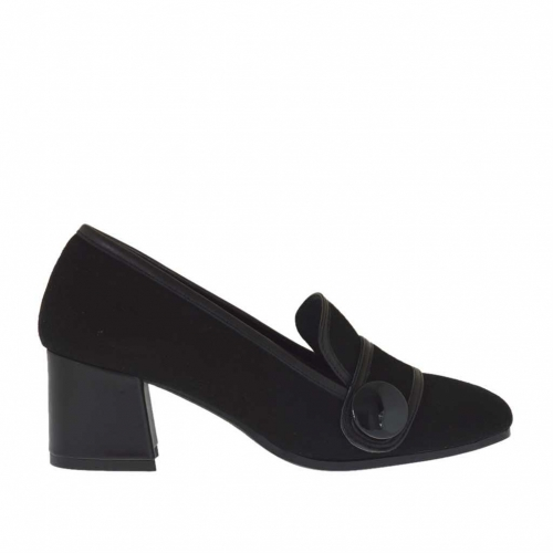 Woman's closed shoe with button in black suede and leather heel 5 - Available sizes:  44