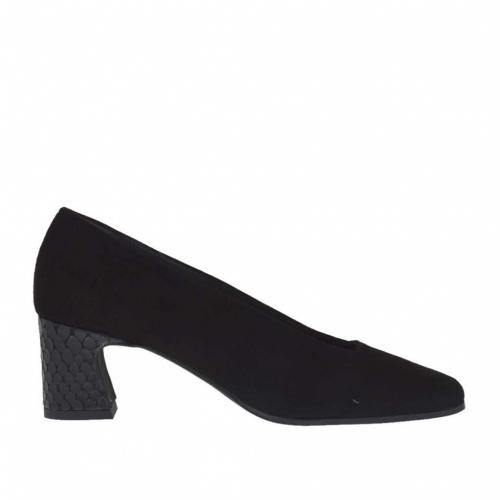 Escarpin pour femmes en daim et cuir imprimé noir talon 5 - Pointures disponibles:  45