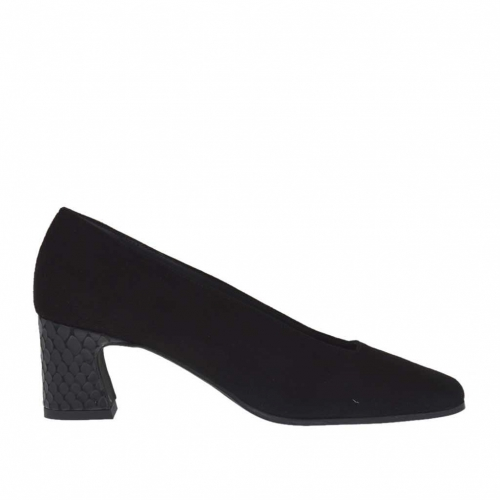 Woman's pump in black suede and printed leather heel 5 - Available sizes:  45
