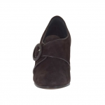 Chaussure fermée pour femmes avec boucle en cuir et daim brun foncé talon 7 - Pointures disponibles:  42