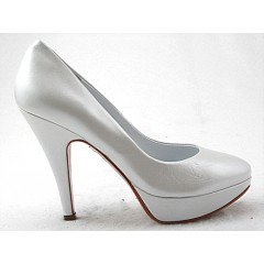 Damen Plattform Pump aus metallisiertem weißem Leder mit Absatz 11 - Verfügbare Größen: 46