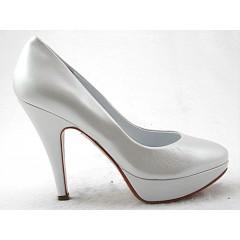 Decoltè plateau in pelle perlato bianco con tacco 11 - Misure disponibili: 46