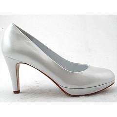Escarpin avec plateforme en cuir blanc perlé talon 8 - Pointures disponibles:  32, 45