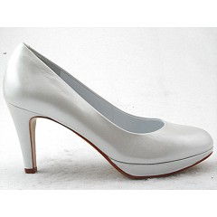 Platform pump in pearly white leather heel 8 - Available sizes:  32, 45
