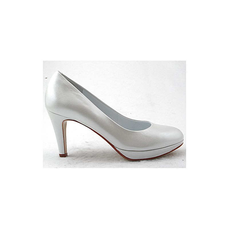 Platform pump in metallized white leather with heel 8 - Available sizes:  32, 45