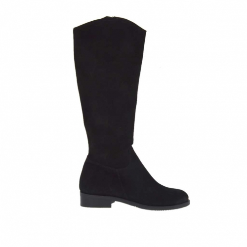 Woman's boot with zipper in black suede heel 3 - Available sizes:  32