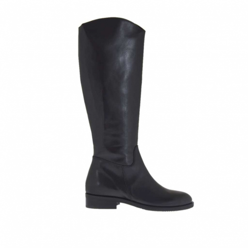 Woman's boot with inside zipper in black leather heel 3 - Available sizes:  32, 33