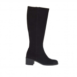 Woman's boot with zipper in black suede heel 5 - Available sizes:  32