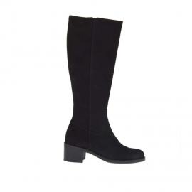 Stivale da donna con cerniera in camoscio nero tacco 5 - Misure disponibili: 32