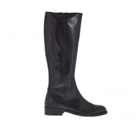 Stivale da donna in stile inglese con cerniera in pelle nera tacco 3 - Misure disponibili: 32, 33