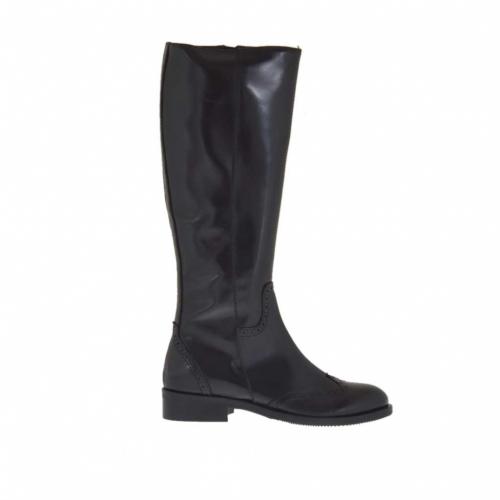 Bottes richelieu pour femmes avec fermeture éclair en cuir noir talon 3 - Pointures disponibles:  32