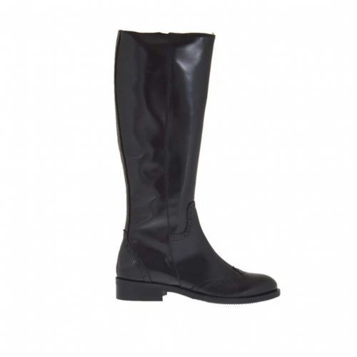 Woman's Oxford style boot with zipper in black leather heel 3 - Available sizes:  32, 33
