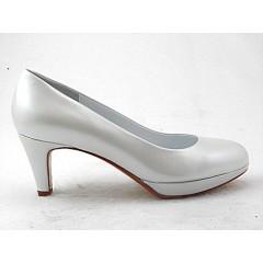 Damen Plattform Pump aus metallisiert weißem Leder mit Absatz 6 - Verfügbare Größen:  31, 32