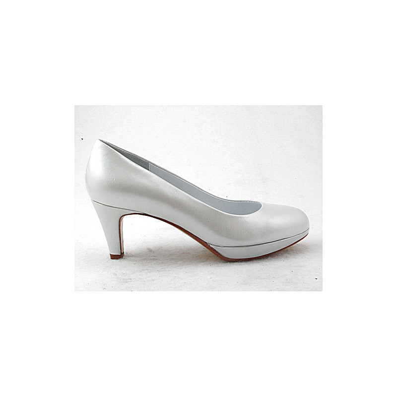 Platform pump in metalizzed white leather with heel 6 - Available sizes:  31, 32