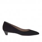 Escarpin pour femmes en daim noir talon 3 - Pointures disponibles:  32, 46
