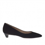Woman's pump in black suede heel 3 - Available sizes:  46
