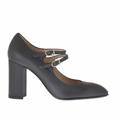 Woman's pump with two straps in gunmetal grey leather heel 9 - Available sizes:  42, 43