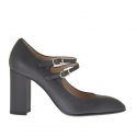 Woman's pump with two straps in gunmetal grey leather heel 9