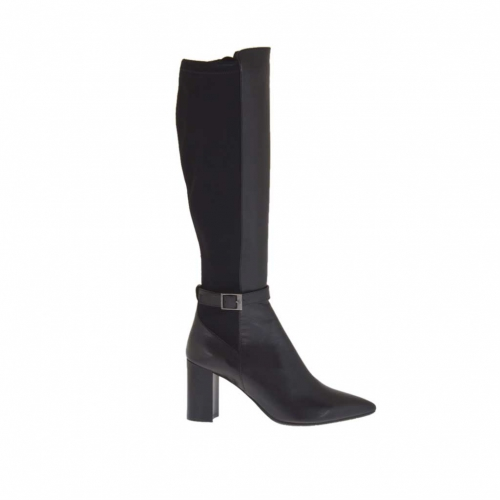Damenstiefel mit Schnalle aus schwarzem Leder und elastischem Stoff Absatz 8 - Verfügbare Größen:  42