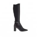 Damenstiefel mit Schnalle aus schwarzem Leder und elastischem Stoff Absatz 8
