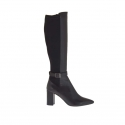 Woman's boot with buckle in black leather and elastic fabric heel 8