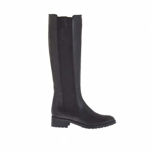Woman's boot in black leather with elastic bands heel 3 - Available sizes:  33