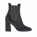 Woman's ankle boot with elastic bands in black leather and laminated gunmetal leather heel 8