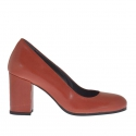 Women's pump shoe in brick red leather block heel 7