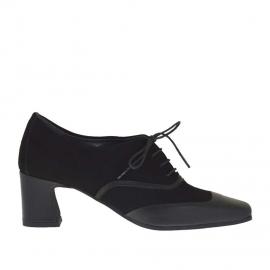 Scarpa stringata da donna in pelle e camoscio nero tacco 5 - Misure disponibili: 32
