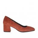 Woman's pump in brick red suede block heel 5