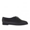 Chaussure fermée a lacets pour femmes en cuir et cuir imprimé noir talon compensé 1.5