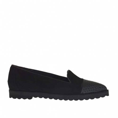 Chaussure fermée pour femmes en daim et cuir imprimé noir talon compensé 1.5 - Pointures disponibles:  43