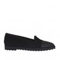 Chaussure fermée pour femmes en daim et cuir imprimé noir talon compensé 1.5
