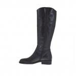 Woman's boot with inside zipper in black leather heel 3