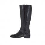 Woman's Oxford style boot with zipper in black leather heel 3
