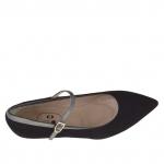 Escarpin de femmes en daim noir et cuir verni laqué gris avec courroie talon 3 - Pointures disponibles:  46